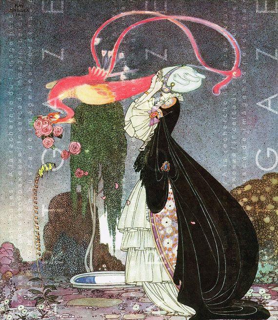 Art Deco Flamingo & Flapper Crinoline Lady Kay Nielsen by Artgaze
