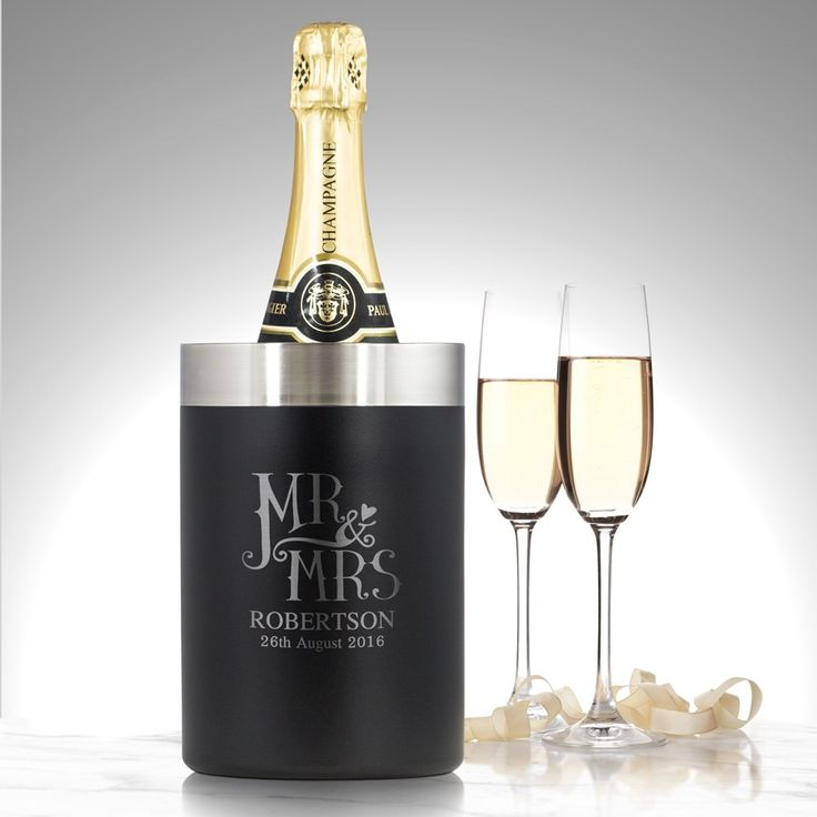 Dotty mr and mrs personalised luxury bottle cooler bride