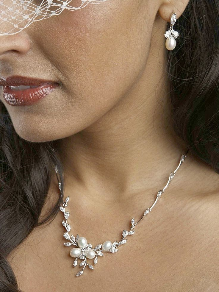 Lovely Freshwater Pearl and CZ Wedding Jewelry Set 3041S--Affordable Elegance Bridal -