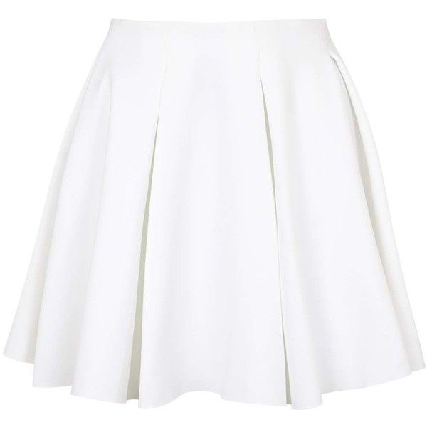 TOPSHOP Box Pleat Flippy Skirt found on Polyvore featuring skirts, bottoms, saias, faldas, white, topshop skirts, topshop, elastic waist skirt, flippy skirt and zipper skirt