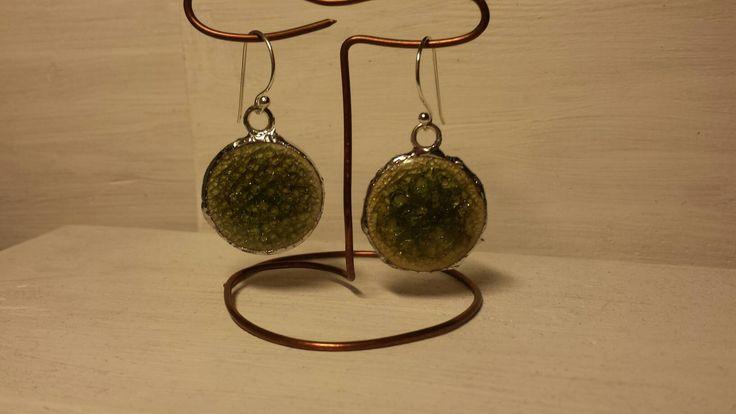 san valentino,idea regalo,verde, smalto verde,cerchio,monachella argento,orecchini verdi,orecchini ceramica,idea regalo,orecchini geometrici di Primordi su Etsy