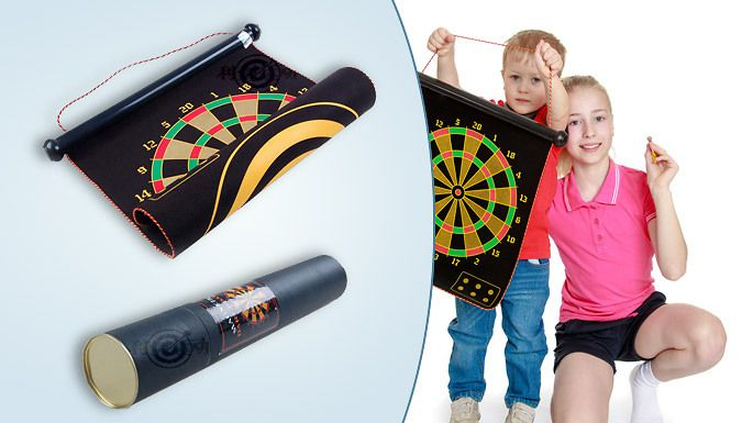 Magnetic Roll Up Dartboard incl. 6 Magnetic Darts Enjoy darts without putting holes in walls with a Magnetic Roll Up Dartboard  and  6 Magnet Darts      Magnetic darts are safer than pointy traditional darts, especially for clumsy beginners.      Size: 15inch, (46cm x 38cm)      Double sided board with two games for twice the fun      Roll up board can be hung over doors, walls or cupboards   ...
