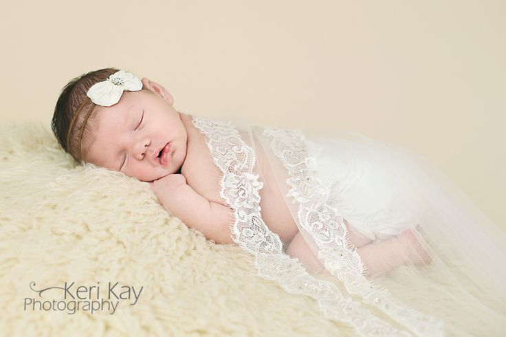 Newborn with Wedding Veil | Keri Kay Photography