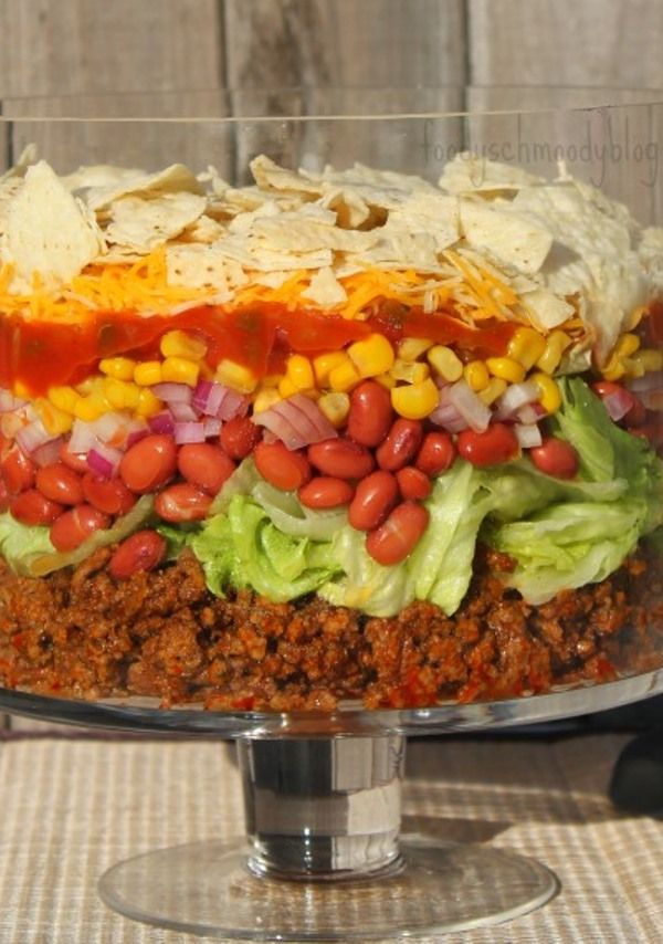 Layered Ranch Taco Salad. I made it with cubed cooked chicken and it was gone fast!