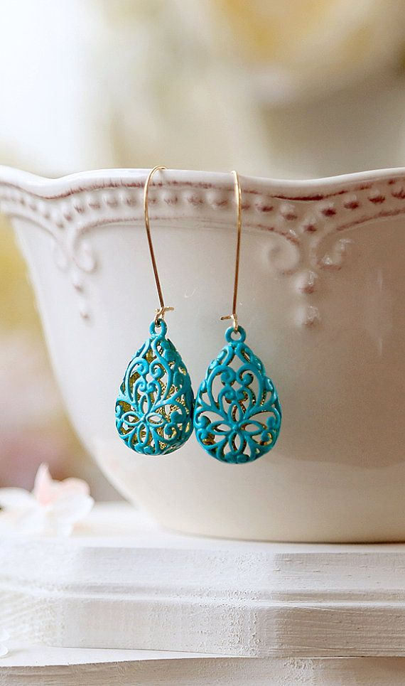 Turquoise Blue Verdigris Patina Puffy Filigree Earrings, Hollow Teardrop Filigree Dangle Earrings, Drop Earrings, Long Kidney Ear wires by LeChaim $22.50. https://www.etsy.com/listing/192660859/turquoise-blue-verdigris-patina-puffy