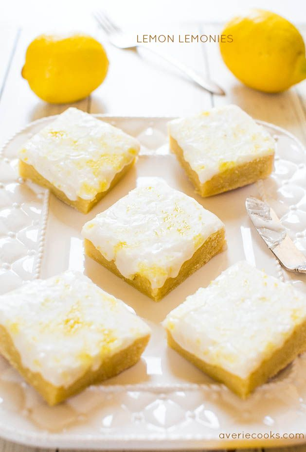 Lemon Lemonies - Like brownies, but made with lemon and white chocolate! Dense, chewy, not cakey and packed with big, bold lemon flavor!