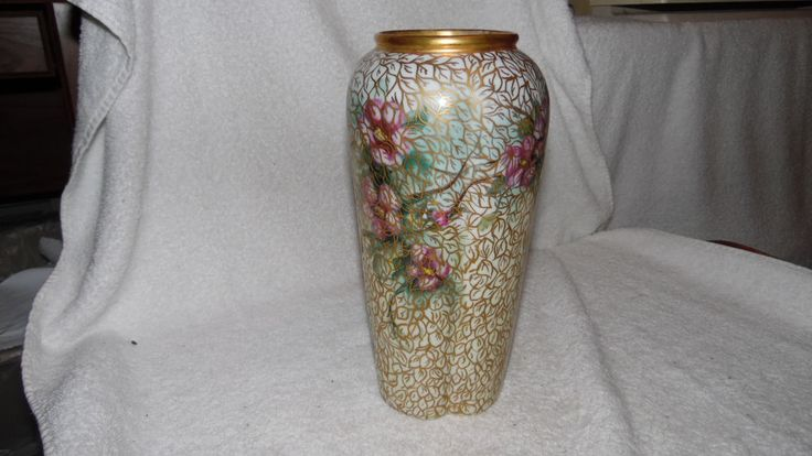 Bristol Bue Glass Vase With Gold Lef And Flowers