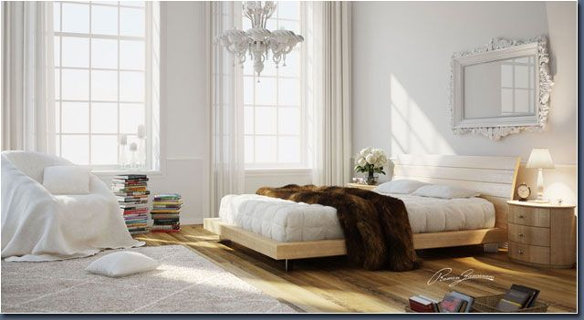 // ROOM ENVIROMENT MODELING // BEDROOM WHITE AND WOOD //