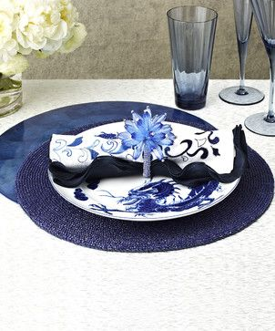 Cobalt Day Glow Placemat - transitional - Placemats - Bliss Home & Design