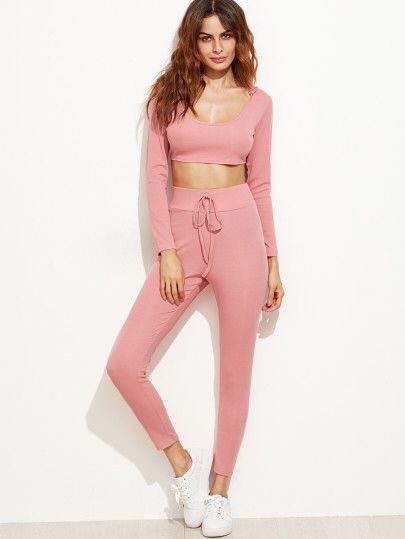 Pink Crop Hooded Top With Drawstring Waist Pants Only US$23.00
