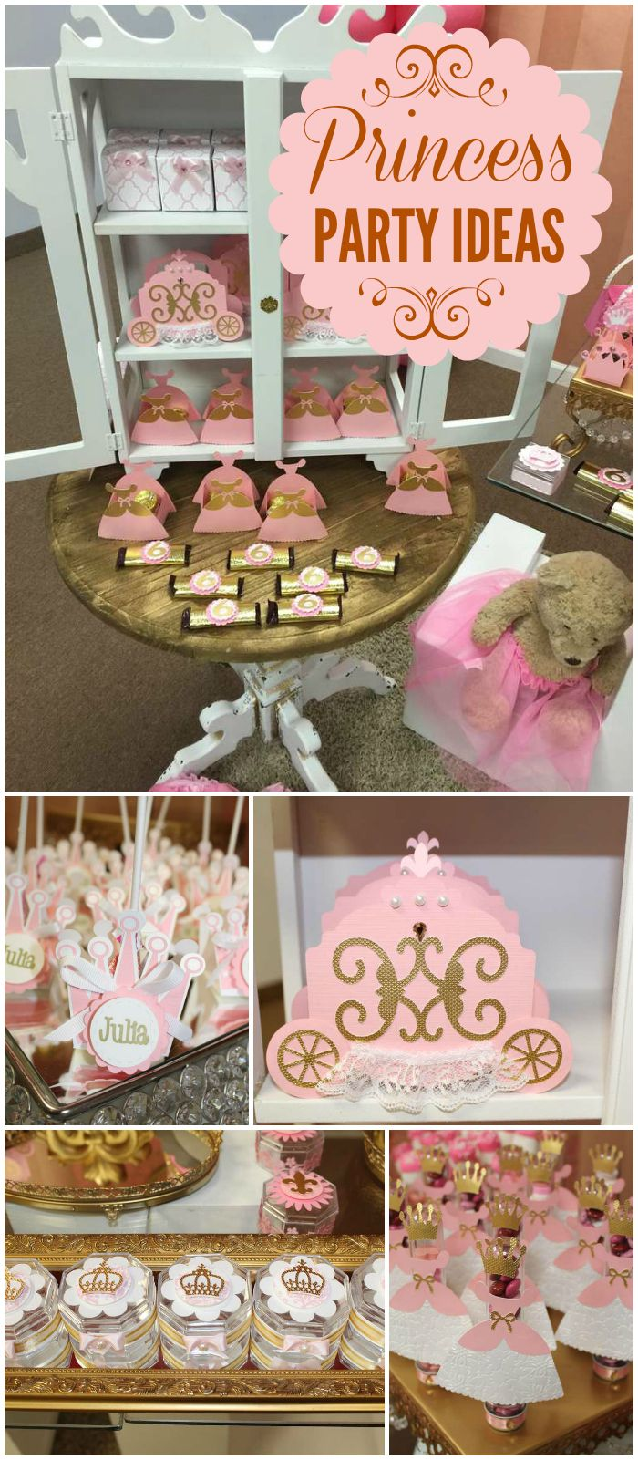 Here's a gorgeous princess party!  Pretty gold and pink royal favors! See more party planning ideas at CatchMyParty.com!