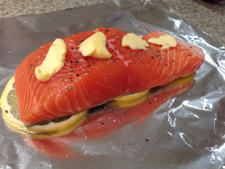 Salmon fillet on lemon slices, topped with salt, pepper, and butter. Wrap up in foil and bake on dry heat high 13 minutes.