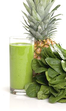 Green Pineapple Paradise smoothie :: so simple!  pineapple, avocado, spinach, ice.  Oh, how I love pineapple smoothies with a quarter of a scrubbed, de-seeded, piece of lemon.  delicious!  and 290 calories :)