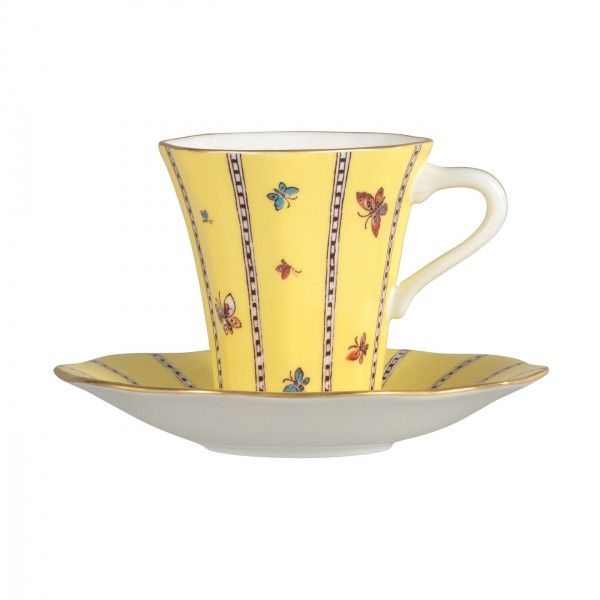 Harlequin Collection Yellow Butterfly Cup and Saucer