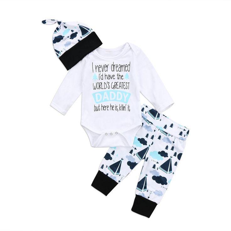 Infant Boy Girl 3pcs Clothing Autumn Bodysuit+Pants+Hat Kids Toddler Clothes Outfits Set