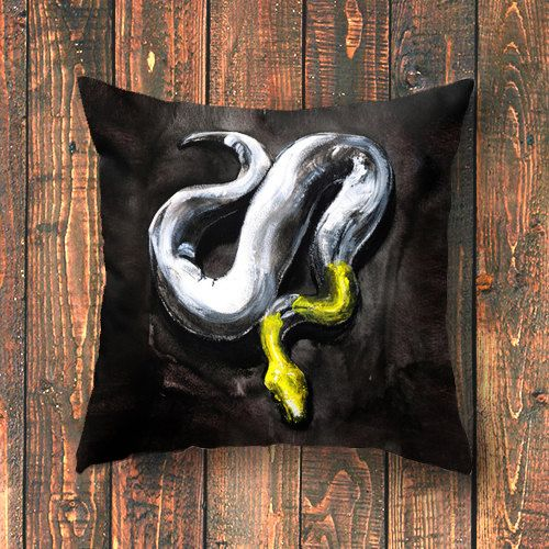 printed design - Yellow Headed Snake  If you need a little danger in your life, this ones for you. A little bit dangerous, a whole bunch of beautiful. This yellow headed snake brings the mysterious and exotic to your home. It represents the danger and the vulnerability of the natural world. Adding a surprise to youre home, as it curls up waiting for unsuspecting visitors.
