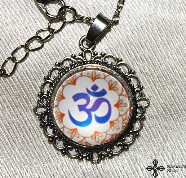 OM Symbol Glass Pendant Necklace