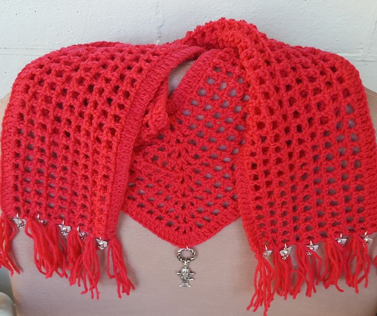 Pink / Peach Crochet V Scarf with Silver Elephant Pendant and Charms by KalaaStudio on Etsy