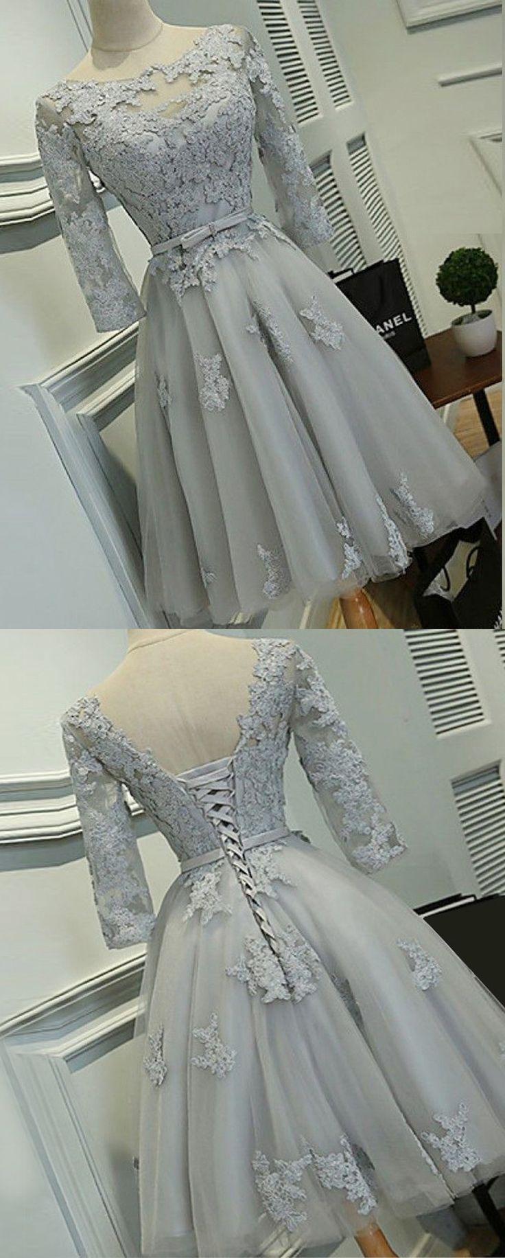 A-Line Dresses,Long Sleeves Dresses,Short Homecoming Dresses,Grey Dresses,Appliques Dresses