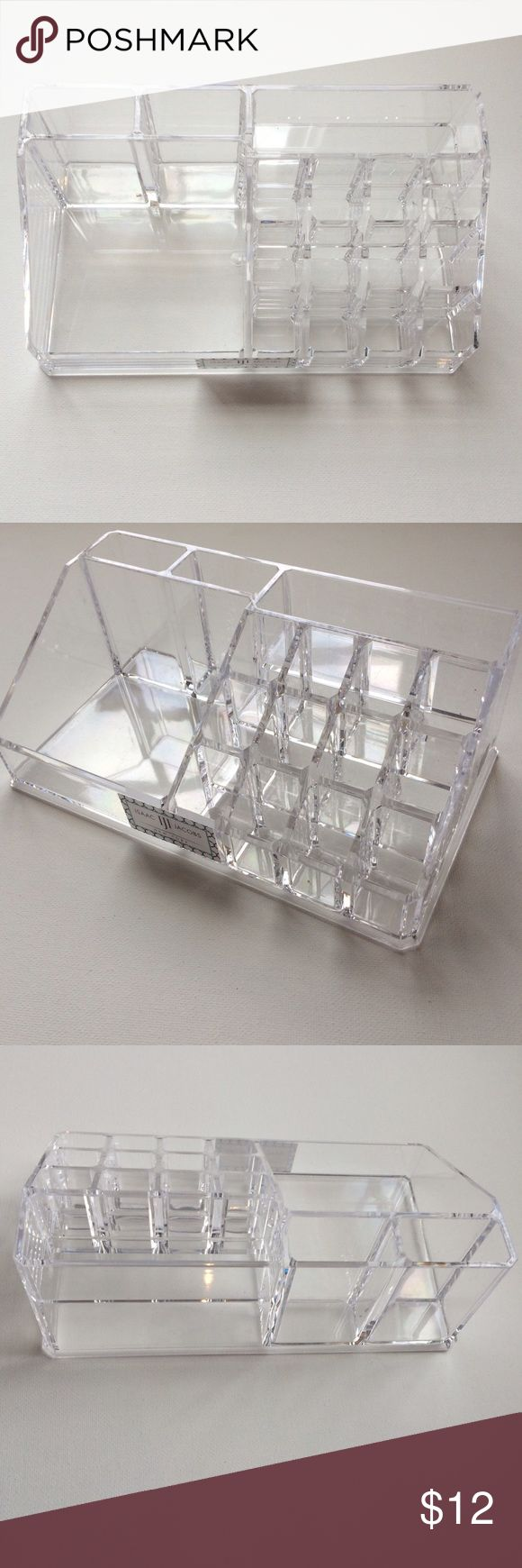 """Isaac Jacobs Acrylic Organizer Acrylic organizer that contains 16 compartments for toiletries, make up, or tools. Measures 5"""" x 8.5"""" Barely used because I don't own enough lipsticks or make up to really use it. Minor scratches that aren't really noticeable. Great condition! Isaac Jacobs Accessories"""