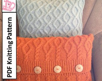 ************* This listing is for a knitting pattern only ***************  I designed this 16 x 16 cushion cover using a super bulky /#6 yarn and 9mm/US13 needles (or size required to obtain gauge). THe pillow cover is worked flat and seamed.  The envelope closure is secured with three buttons allowing for easy removal to change your decor or for hand washing. Both front and back are visually appealing. Just turn over for a different look.  If you are familiar with using a cable needle you…