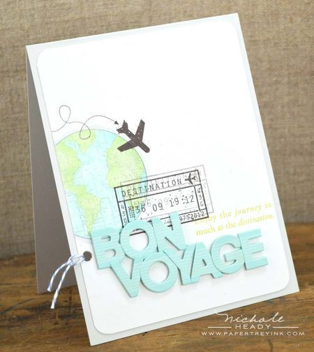 Bon Voyage Card by Nichole Heady. I like this layout, don't foresee a use for this type of card but could use the layout for other types.