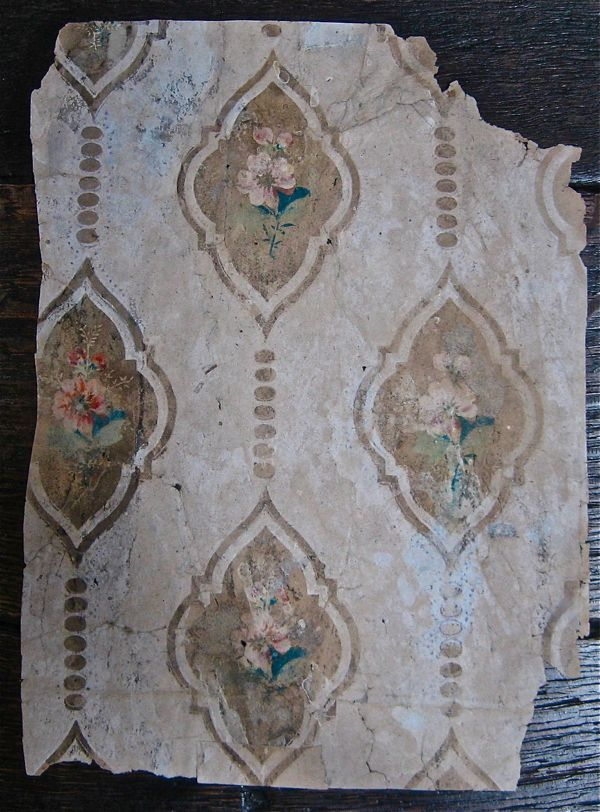 Wallpaper from a house in Fournier Street, East London. Dated around 1721