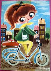 70s Googly Eyed Girl Postcard