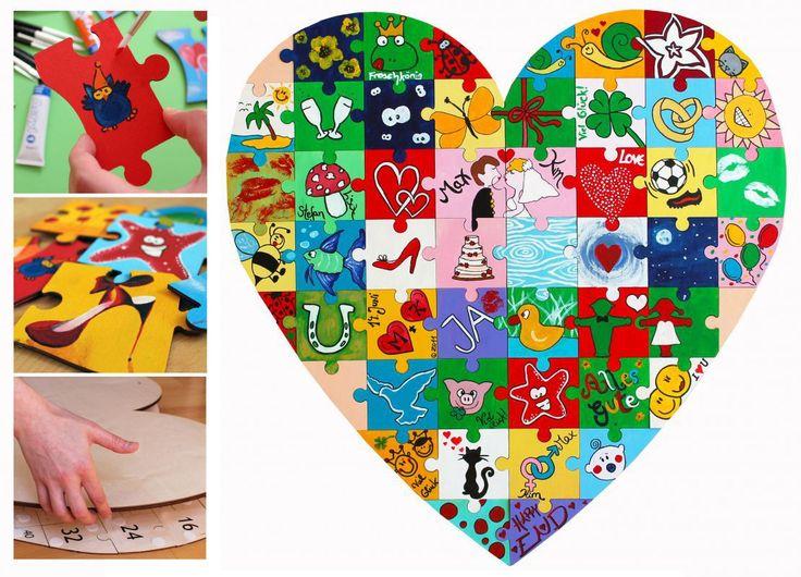 Holz-Puzzle Herz zum Bemalen