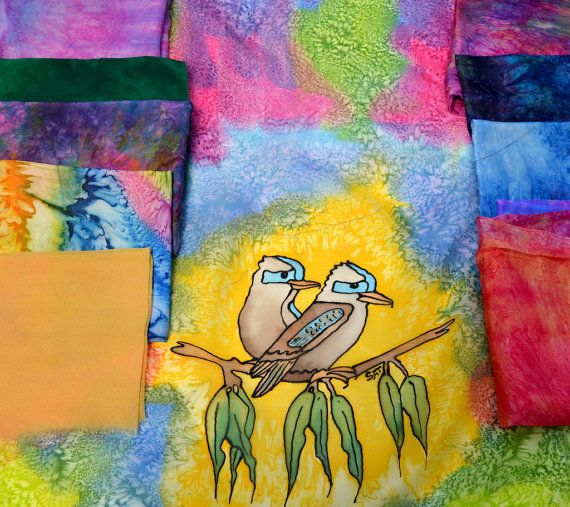 Hand dyed Silk Fabric Bundle Australian Bird Panel Textile