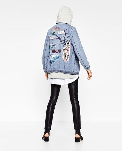 DENIM BOMBER JACKET WITH BACK PRINT-View all-OUTERWEAR-WOMAN | ZARA United States