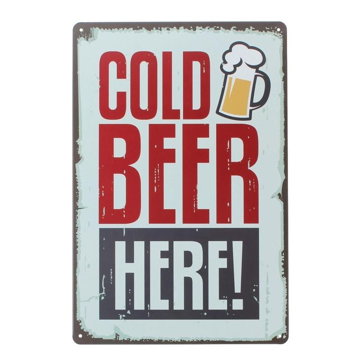 """Amazon.com - Uniquelover Cold Beer Here At the Pub Bar Retro Metal Vintage Style Wall Decor Tin Sign 12"""" X 8""""inches -"""