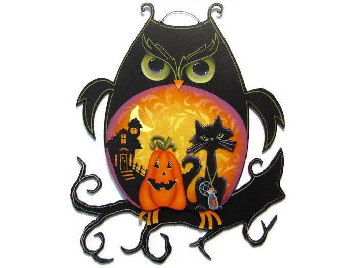 Halloween Owl, Pumpkin, Black Cat, Handpainted Wood Sign, Hand Painted Home Decor, Wall Art, Tole Decorative Painting by ToleTreasures on Etsy