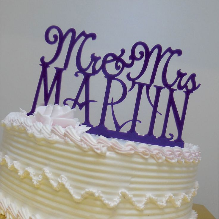 Wedding Cake Topper - Mr and Mrs Personalized Acrylic Cake Topper With Your Last Name - Special Custom Unique Cake Topper