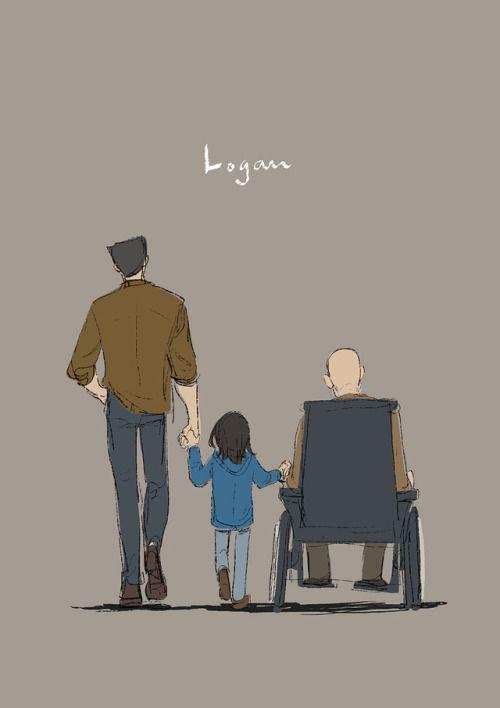 With fafa and grandfa by Sanji Seo. Logan, Wolverine, Laura, X23, Charles, Professor X.