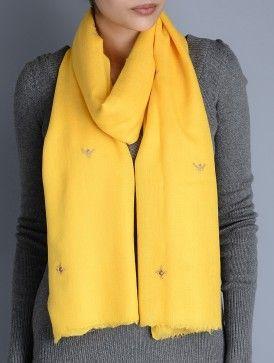 Yellow Gota Patti Cashmere Wool Stole