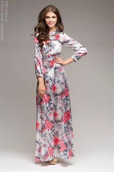 ЛЮБЛЮ ПЛАТЬЯ интернет-магазин платьев - Платье серое длины макси с коралловым цветочным принтом и поясом