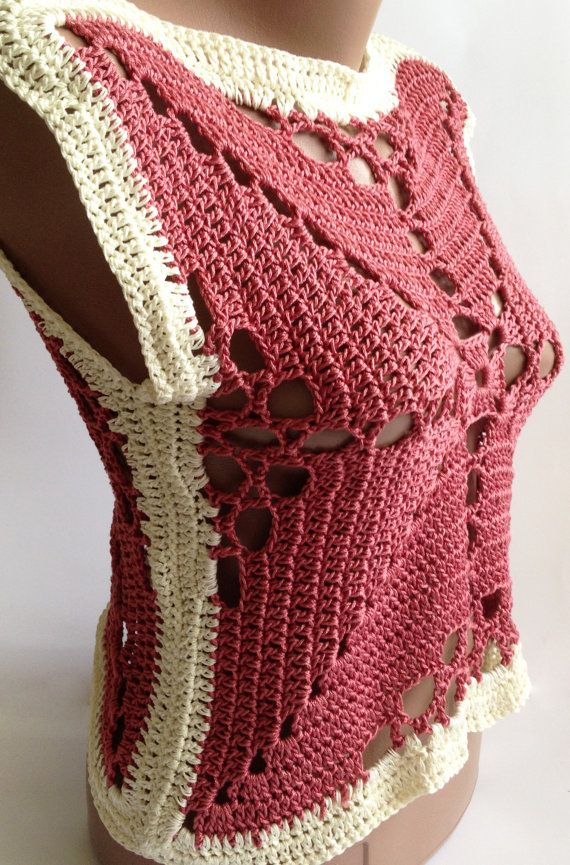Crochet lace vest/ Crochet crop top/ Boho crochet by ElenaVorobey