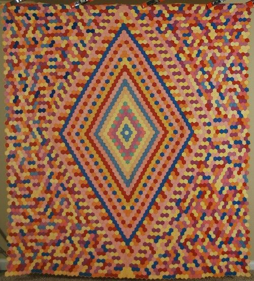 """LG Vintage 30's Mosaic Hexagon Medallion Flower Garden Antique Quilt Amazing 