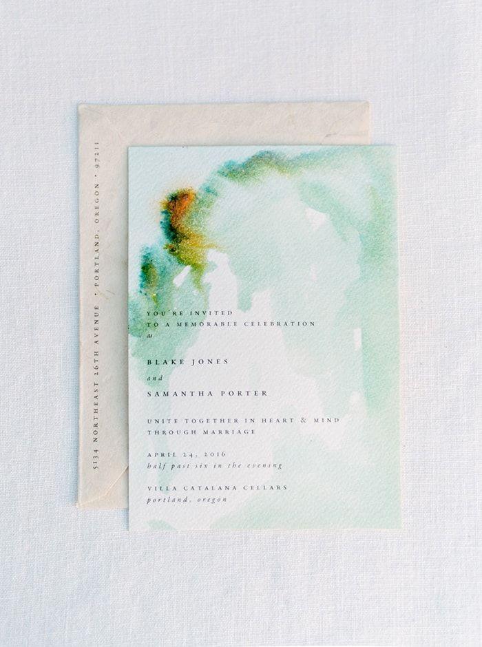 Watercolor invitations  #green #simple