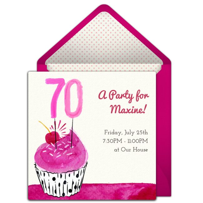 Customizable, free 70th Cupcake online invitations. Easy to personalize and send for a 70th birthday party. #punchbowl