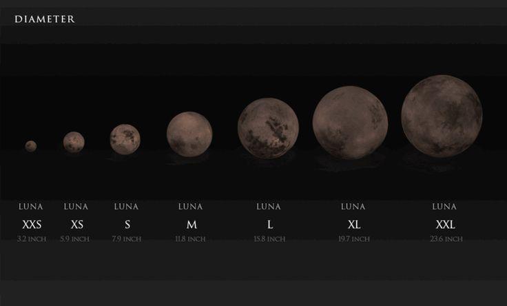 Die Mond Lampe gibt es in sieben verschiedenen Größen