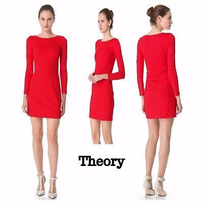 Theory-Kalion-Pryor-Red-Long-Sleeve-Bodycon-Sheath-Zipper-Cuff-Dress-Size-Medium