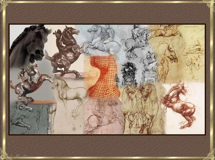 """""""Тайная вечеря"""" Леонардо да Винчи-""""Конь""""-наброски-макеты- Леонардо да Винчи-коллаж-иллюстрация"""