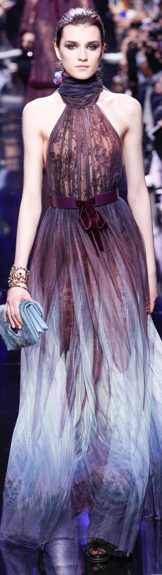 Elie Saab Fall 2017 RTW Purple and pale blue bridal haute couture  collection beautiful luxury high fashion white  minimalist silk wedding gown, wedding dress, long white skirt, modern minimalist avant garde,  long white fairytale style wedding skirts for classy romantic wedding queens. Fashion model runway full body portrait photo, neckline simple clean satin skirt, for wedding inspiration ideas