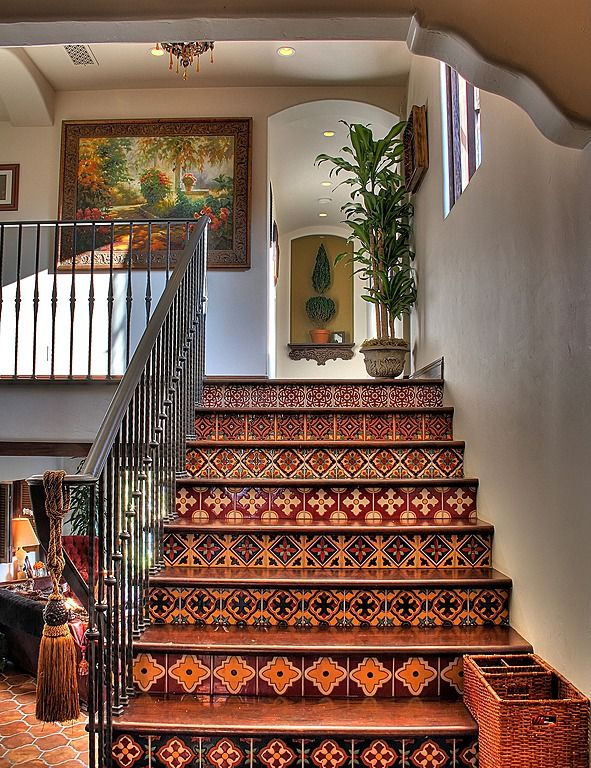Spanish Tiled Stairs - what beauty (and the painting ain't bad either!)