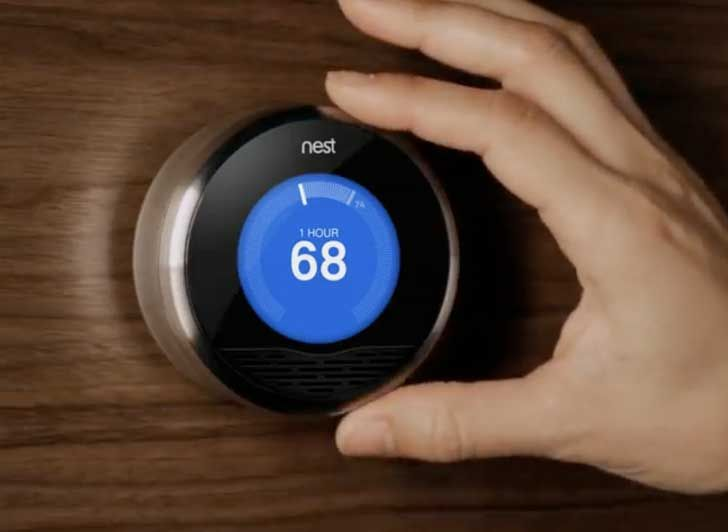 Living Room: the Nest thermostat. App controlled, smart learning software to match your temperature needs.