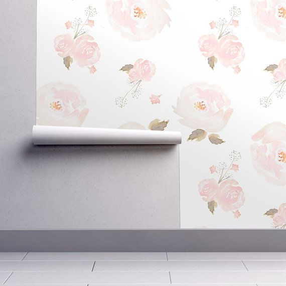 Floral Wallpaper  Indy Bloom Blush Rose By by Spoonflower on Etsy