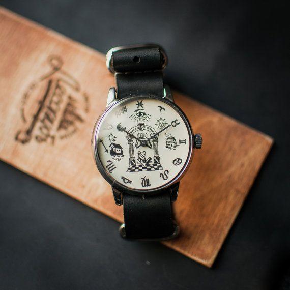 "Men's watch ""Masons"" Pobeda, men's wrist watch navy face, gent's watch from 90s USSR, boyfriends wristwatch gift, leather strap new"