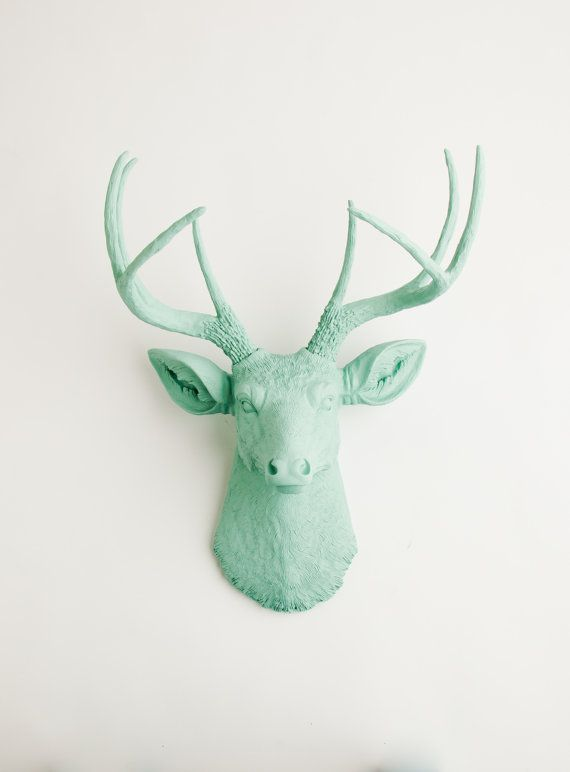 Faux Deer Head  The Eleanor  Seafoam Green door WhiteFauxTaxidermy, $99.99